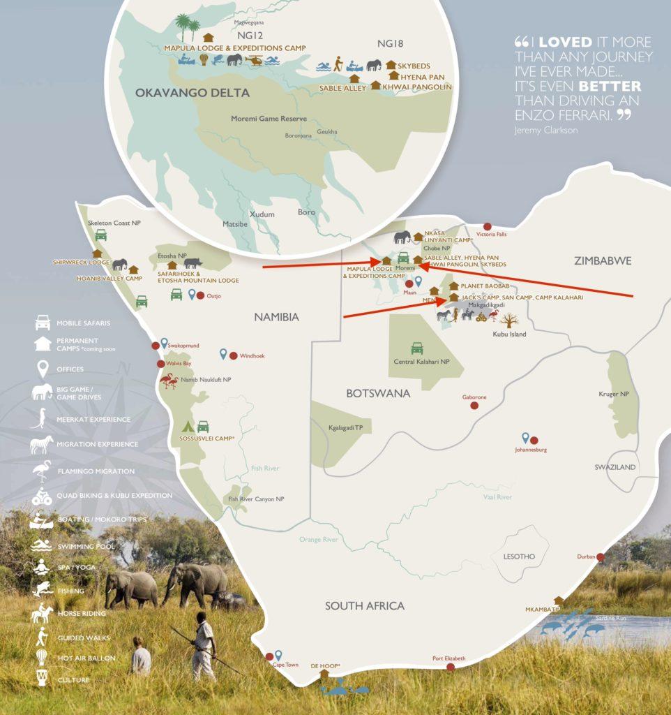 karta botswana naturresor